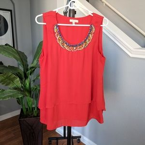Halo beaded detail layered blouse size M